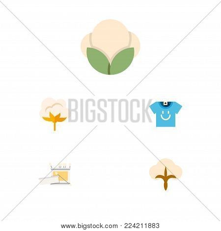Icon flat fiber set of t-shirt, cotton, fluffy and other vector objects. Also includes cotton, fiber, fluffy elements.