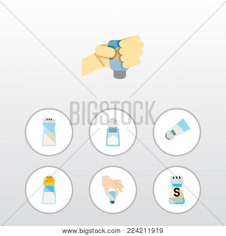 Icon flat flavor set of shaker, saltshaker, spicy and other vector objects. Also includes salt, shaker, spicy elements.