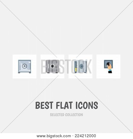 Icon flat safe set of saving, unlock, banking and other vector objects. Also includes strongbox, safe, protection elements.