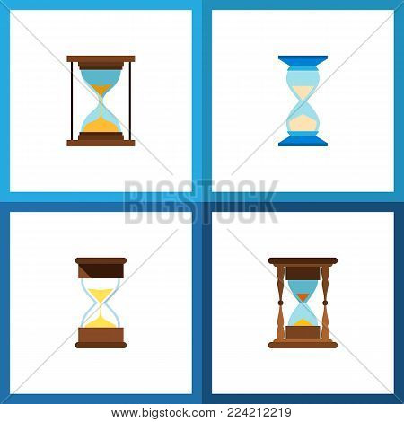 Icon flat timer set of minute measuring, clock, loading and other vector objects. Also includes timer, sandglass, instrument elements.