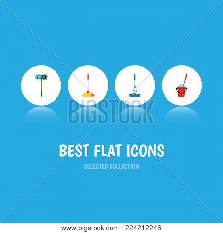 Icon flat broomstick set of mop, sweep, broomstick and other vector objects. Also includes mop, sweep, cleaning elements.