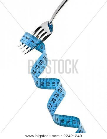 fork with measuring tape isolate on white