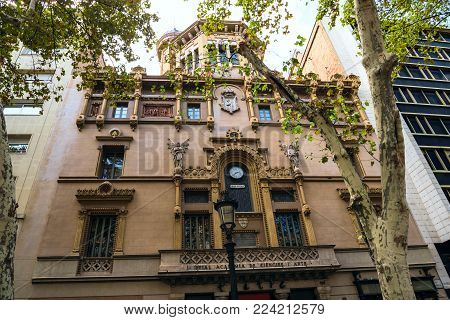 Spain Barcelona-September 2017: the building of the Royal Academy of Sciences and arts on the Las Ramblas.