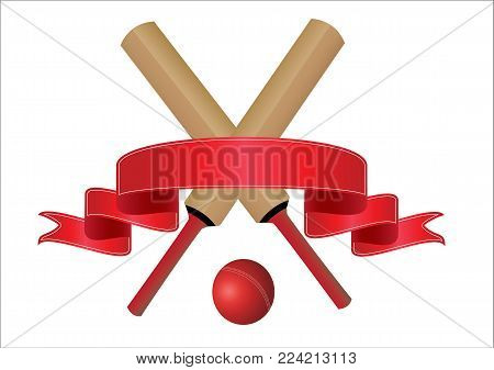 cricket bats  with a  blank red banner for text on a  white background