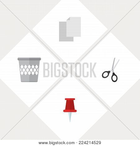 Icon flat equipment set of blank, pin, bin and other  objects. Also includes trashcan, paper, basket elements.