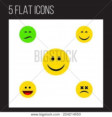 Icon flat expression set of sad, grin, dizzy emoticon and other  objects. Also includes face, joy, smile elements.