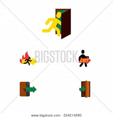 Icon flat door set of exit, emergency, entry and other  objects. Also includes exit, door, directional elements.