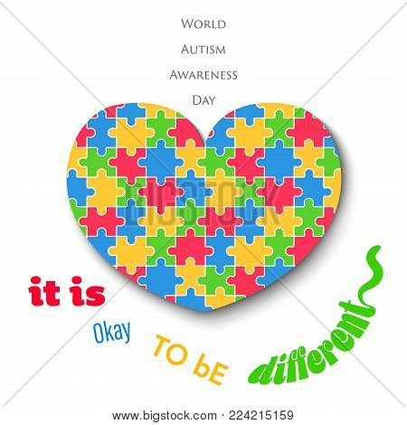 Colorful Jigsaw Heart on White Background Autism Day Vector Illustration