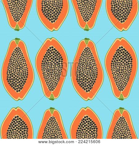 Seamless pattern with egg and avocado. Background for your design, fabric textile, wallpaper or wrapping paper. Vector illustration.
