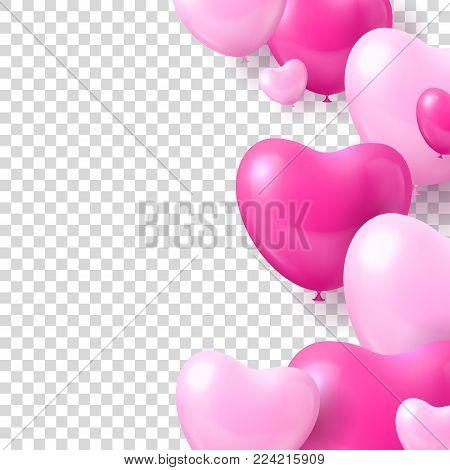 Air balloons form hearts transparent background template. Air balloons in the form of hearts transparent background template for designers and illustrators. Romantic design as a vector illustration