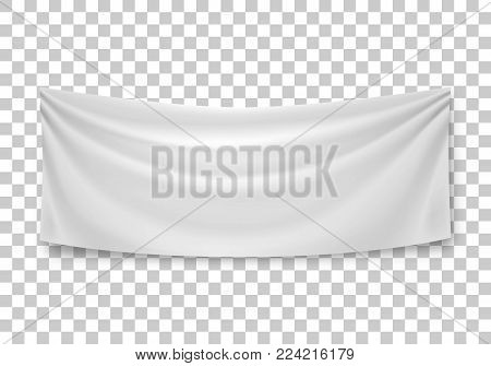 Blank horizontal banner, streamer, mockup, isolated on transparent background. Outdoors information ridgepole for inscriptions, slogans, mottos and so on. Vector illustration of canvas