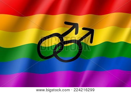 Rainbow waving flag movement lgbt, men symbol, realistic icon. Element of sexual minorities, gays and lesbians. Vector illustration of a colorful canvas