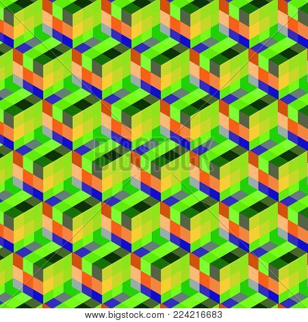 Abstract cube pattern. Colorful design, geometric 3d vector wallpaper, cube pattern background.