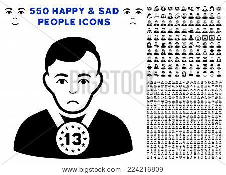 Dolor 13Th Prizer Sportsman icon with 550 bonus sad and happy user pictograms. Vector illustration style is flat black iconic symbols.