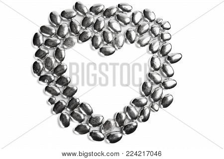 heart from Confectionery sugar used to decorate cakes and pies