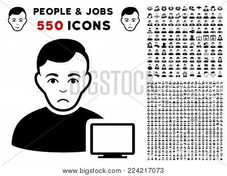 Dolor Computer Administrator pictograph with 550 bonus pity and glad people graphic icons. Vector illustration style is flat black iconic symbols.
