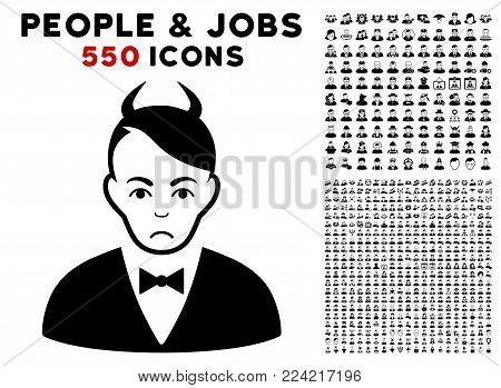 Sadly Devil pictograph with 550 bonus pitiful and glad person pictographs. Vector illustration style is flat black iconic symbols.