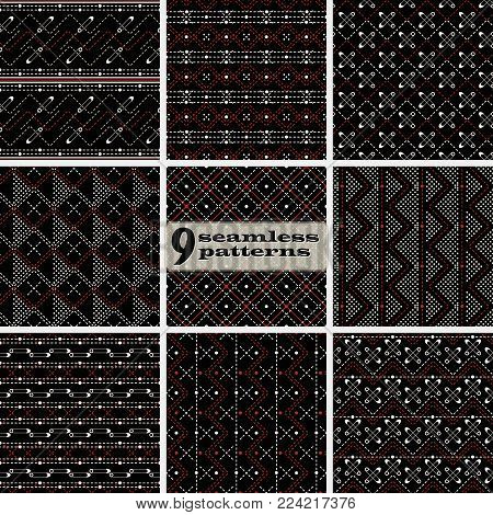Set of seamless abstract geometric patterns in black, white, red colors with stitching and safety pins. Collection of nice textile vector prints