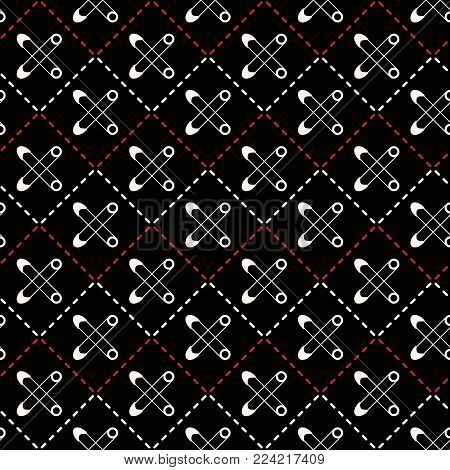 Seamless geometric sewing pattern with stitching and safety pins. Textile vector print in black, white, red colors