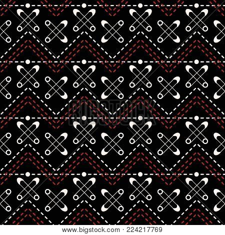 Seamless geometric sewing pattern of stitching and safety pins. Stylish textile contrast print