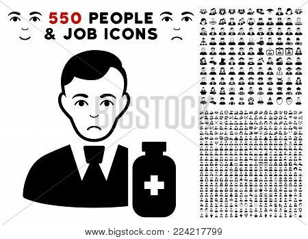 Sad Medical Pharmacist pictograph with 550 bonus pity and happy people pictograms. Vector illustration style is flat black iconic symbols.