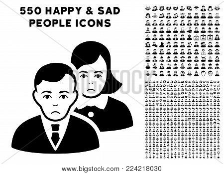 Dolor People icon with 550 bonus pitiful and happy men pictures. Vector illustration style is flat black iconic symbols.