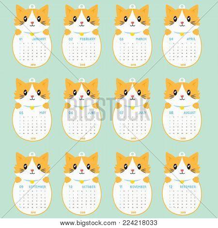 2018 calendar template. 2018 animal shaped calendar, cute cat holding calendar. printable 2018 calendar cartoon vector.