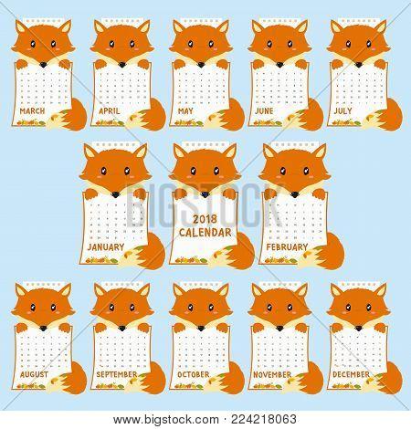 2018 calendar template. 2018 animal shaped calendar, cute fox holding calendar with autumn leaves. printable 2018 calendar cartoon vector.