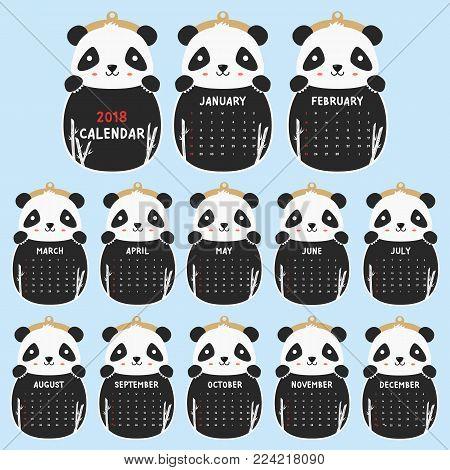2018 calendar template. 2018 animal shaped calendar, cute panda holding black and white calendar. printable 2018 calendar cartoon vector.