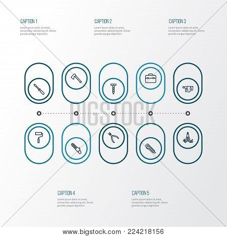 Handtools icons line style set with paint, round pliers, screw and other paint elements. Isolated vector illustration handtools icons.