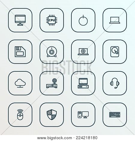 Hardware icons line style set with cpu, power, protect and other storage  elements. Isolated vector illustration hardware icons.