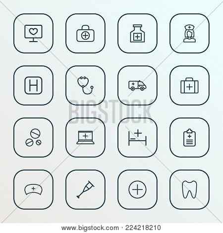Drug icons line style set with tent, monitor, fist aid and other apparatus  elements. Isolated vector illustration drug icons.