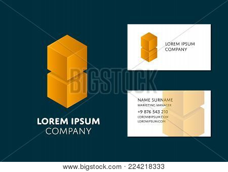 Creative business card template with yellow cube logo. Name, work position, phone, website and email contact information. Corporate business simple design, brand identity vector illustration.