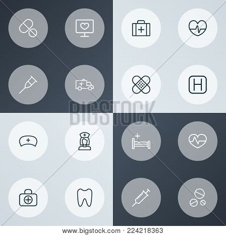 Drug icons line style set with drug, plaster, injection and other drug  elements. Isolated vector illustration drug icons.