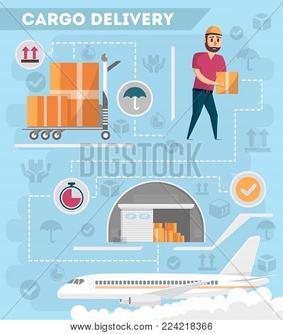 Worldwide air delivery service poster. Commercial airline advertising, world goods shipping, freight transportation, cargo air postal. Cargo plane, warehouse and worker with box vector illustration.