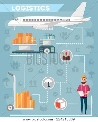 Logistics of commercial freight airline. Worldwide goods shipping, freight transportation, cargo air postal. Airplane, cargo truck with boxes and warehouse worker with checklist vector illustration.