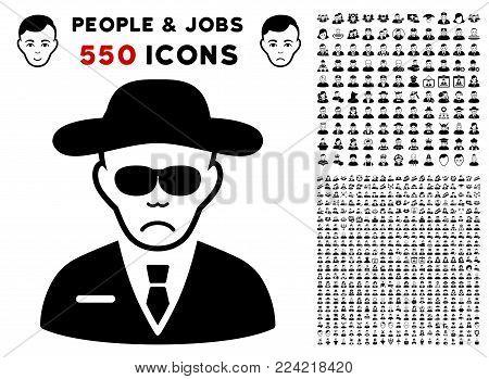 Pitiful Spy pictograph with 550 bonus sad and glad jobs design elements. Vector illustration style is flat black iconic symbols.