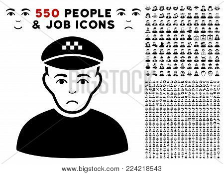 Pitiful Taxi Driver icon with 550 bonus pity and happy person pictures. Vector illustration style is flat black iconic symbols.