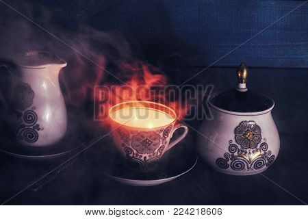 Tea drinking together with spirits, with thoughts of the eternal