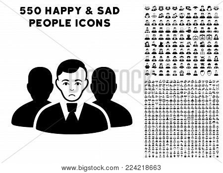 Dolor User Group pictograph with 550 bonus pitiful and glad people clip art. Vector illustration style is flat black iconic symbols.