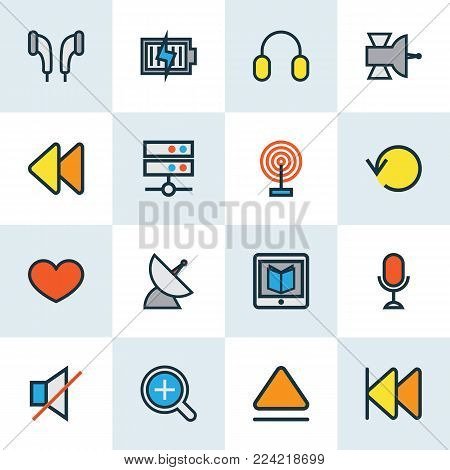 Music icons colored line set with earmuff, communication antenna, rewind and other zoom in elements. Isolated vector illustration music icons.