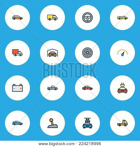 Auto icons colored line set with auto, shed, electric and other washing elements. Isolated vector illustration auto icons.