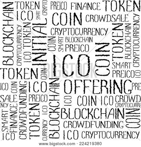 ICO Initial coin offering, startup crowdfunding, blockchain technology pattern. ICO concept words texture on white background. Seamless pattern