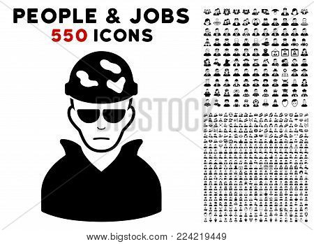 Sadly Soldier pictograph with 550 bonus pitiful and happy user pictographs. Vector illustration style is flat black iconic symbols.