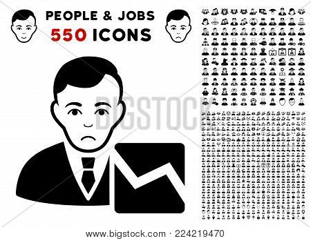 Unhappy Stock Trader icon with 550 bonus sad and happy person pictures. Vector illustration style is flat black iconic symbols.