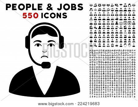 Pitiful Call Center Operator pictograph with 550 bonus pitiful and happy people graphic icons. Vector illustration style is flat black iconic symbols.