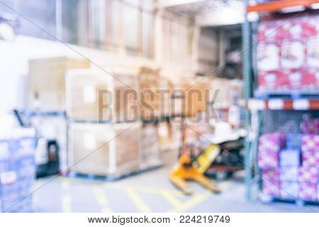Blurred Wholesale Warehouse Interior In America