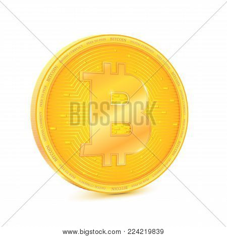 Coin of virtual currency Bitcoin. The coin is turned sideways, symbol of technology money. Digital currency, cryptocurrency. Icon, golden symbol of bitcoin isolated on white background