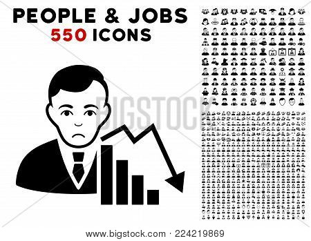 Sad Stock Trader pictograph with 550 bonus pitiful and glad men clip art. Vector illustration style is flat black iconic symbols.