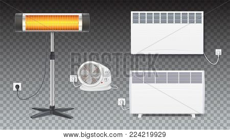 Set icons of heaters, household appliances on transparent background. Realistic convector, fan heater, UFO quartz heater with power cord and socket, isolated 3D illustration with shadows.